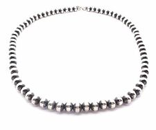 Beautiful Handmade Navajo Pearls Sterling Silver Strand Bead Necklace
