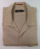 Bugatchi Uomo Short Sleeve Linen Light Brown Collar Loop Casual Shirt XXL 2XL