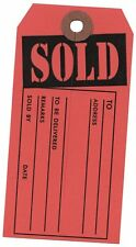 100 Large SOLD Tags - Red and black  Heavy Duty Paper Stock 4 3/4 x 2 3/8 3000rd