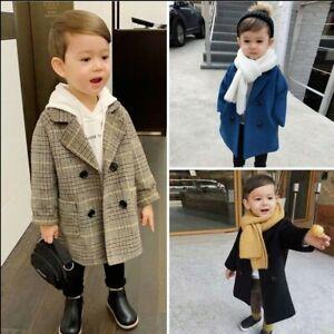 UK Boys Kids Woolen Trench Coat Double Breasted Plaid Overcoat Windproof Jacket