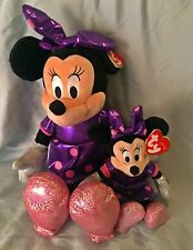 Minnie Mouse Purple Sparkle Ty Beanie Baby & Buddy Set of 2- Mwmt Free Shipping
