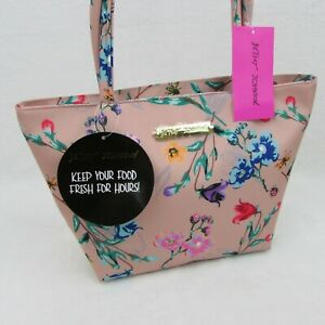 Betsey Johnson Satchel Insulated Lunch Tote Handbag Blush Pink Multi Bee Floral