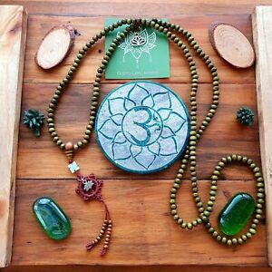 Mala Beads Ohm Buddhist Bracelet Necklace Yoga Green & Silver Boho Aum Om Mantra