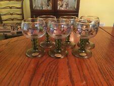 Vintage Set of 6 Austrian Roehm Stemmed Cordial Wine Glasses, Hand Painted