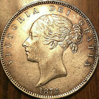 1874 UK GB GREAT BRITAIN SILVER VICTORIA HALFCROWN - Stunning! Surface hairlines
