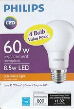 A (4 Pack) - 60w Equivalent Soft White A19 LED Bulbs, 800 Lumens -  By Philips