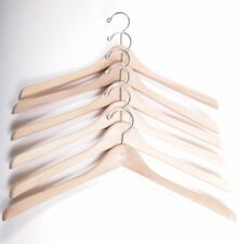 "Lot of 6 18"" Thick Contoured Wooden Hangers w/ Chrome Hooks"