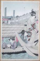 Japan/Japanese 1910 Postcard: Geisha Girl, Three Women in Boat