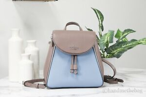 Kate Spade Leila Colorblock Pebble Leather Medium Flap Shoulder Backpack Bookbag