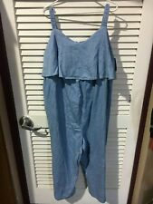 Ingrid & Isabel Womens Maternity Chambray Flounce Jumpsuit Blue Size XXL