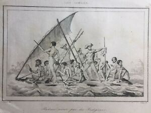 """PACIFIC INDIGENOUS RARE ILES GAMBIER ANTIQUE ENGRAVING 1836 """"INDIGENOUS RAFT"""" A"""