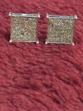 White Gold 10 Kt  Diamond Earring 0.40 Ct Square Shape Pave Set Screw Backs