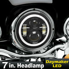 """7"""" Motorcycle LED Projector Daymaker Headlight Buble Amber Halo Ring For Harley."""