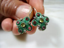 ANTIQUE CHINESE ENAMELED SILVER EARRINGS W PINK & GOLDEN TOURMALINE CABOCHONS