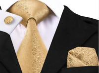 Set Cravate-8cm,100%Soie Doré+Bouton deManchette+Mouchoir,Élégant,ChicModeFrance