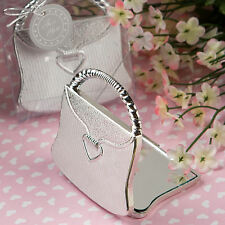 Bomboniera utile matrimonio confezionata battesimo specchio borsetta argento