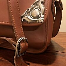 Colini USA Brown Leather Shoulder Bag Silver Embellishment Kelly Style Beauty