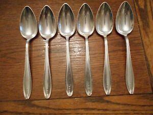 6 Wallace Silverplate 1920 HOSTESS Pattern Table Serving Spoons Flatware 3346