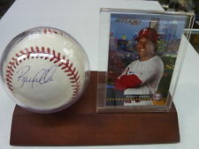 BOBBY ABREU PHILLIES AUTOGRAPHED BASEBALL WITH CARD GLOBAL AUTHENTICATION