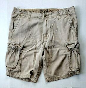 Mens Old Navy Broken In Khaki Classic Length Cargo Adirondack Cotton Shorts 36