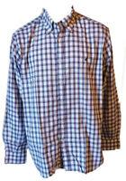 Camicia Button Down Quadretti Casual Manica Lunga Uomo Cotone BROOKSFIELD Tg 45
