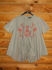 WOMENS STYLE ENVY BLACK & WHITE SHORT SLEEVE TOP PLAID EMBROIDERED LARGE NWT