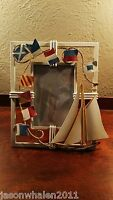 VINTAGE 3D METAL PICTURE FRAME WITH SAILBOAT AND FLAGS
