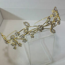 Gold plated alloy diamante crystal flower and leaf tiara band 179G
