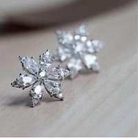 2Ct Pear Cut D/VVS1 Diamond Push Back Cluster Stud Earrings 14K White Gold Over