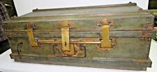 1900 ANTIQUE IRON TRUNK NOSTALGIC TRAVELLING BOX ILLEGIBLE MARK INDIA