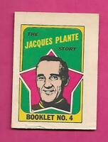 1971-72 LEAFS JACQUES PLANTE  BOOKLET INSERT (INV# C7236)