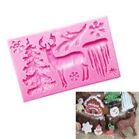 Xmas Silicone Fondant Cake Mould Decorating Mold Chocolate Baking Sugarcraft
