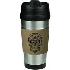 Leather & Stainless Steel Insulated Travel Mug Cup Sugar Candy Skull