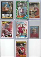 Joe Montana 49ers Lot of (7) Different 1982 1984 1985 1986 HOF EX NMint BV$68.00