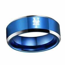 New York Mets ring Titanium sport team logo 4colors 8mm US size 6-15