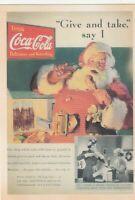 "*Postcard--AD--""Santa Claus & Coca-Cola"" *Give & Take, Say I- /Enjoy a Bottle/"
