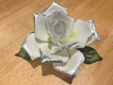 1997 Roman Inc. 25th Anniversary Porcelain Silver Rose with Green Leaves