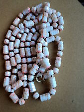 PRETTY, EARLY FAUX ANGLHAIR CORAL CARVED CELLULOID FLAPPER LENGTH NECKLACE