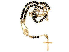BRAND NEW!! ICED OUT GOLD & BLACK CRYSTAL HIP HOP ROSARY CROSS CHAIN NECKLACE