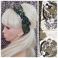 Khaki Green Animal Leopard Print Square Bandana Head Hair Neck Tie scarf RETRO
