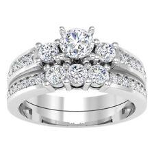 2Ct Round-Cut Diamond Halo Bridal Set Engagement Ring 10K White Gold Finish