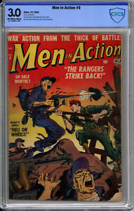 MEN IN ACTION #9  CBCS 3.0 - GRUESOME! - EXTREME RARITY: ONLY 1 ON CGC - 1952