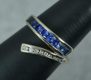 Superb 9ct White Gold Graduated Sapphire and Diamond Ring