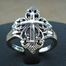 925 Sterling Silver Cross Filigree Ring Size 9 Unisex Gothic Hall Solid Unbr New