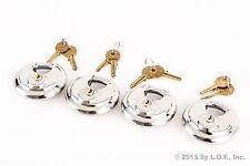 4 - Disc Padlock Stainless Trailer Brass Cylinder Storage Locks Keyed Alike New