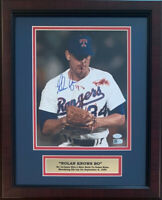 Nolan Ryan Signed Texas Rangers Framed 8x10 Photo Bo Jackson Bloody AI COA