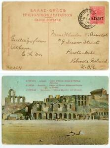 1909 British Post Office Constantinople LEVANT to Rhode Island - ppc - cover