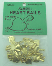 Aanraku HEART Bails GOLD Plated Medium 25 Glue On Findings for Cabochons 20x11mm