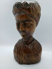 Beautiful carved bust of African woman Caribbean Islands / Haiti solid wood #541