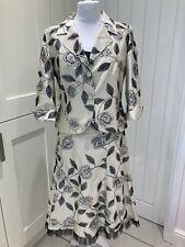 Presen De Luxe 3 Part Gold Floral Skirt Suit - Size 18 Wedding Guest